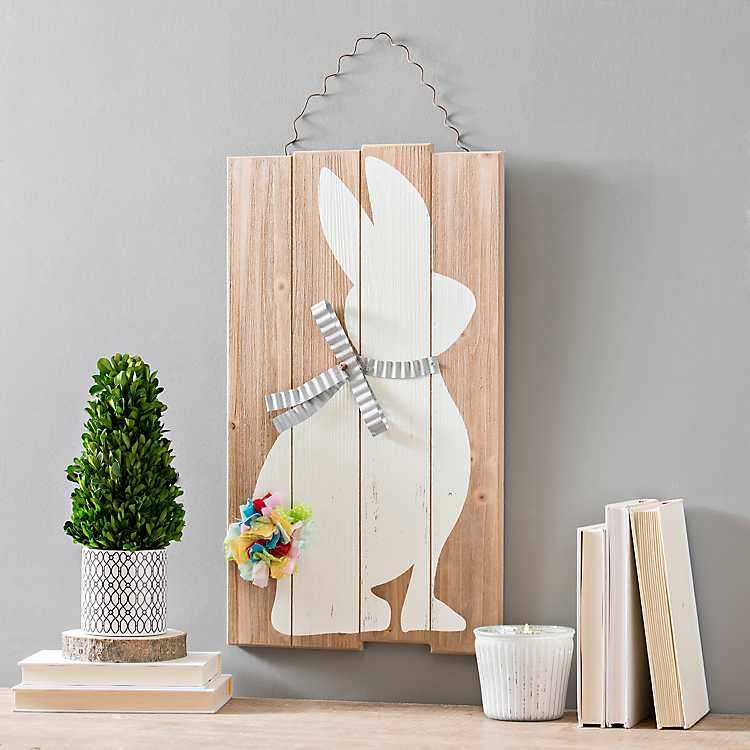 winter woodland home decor the collection.htm galvanized bow and fabric tail bunny wall plaque kirklands  bow and fabric tail bunny wall plaque