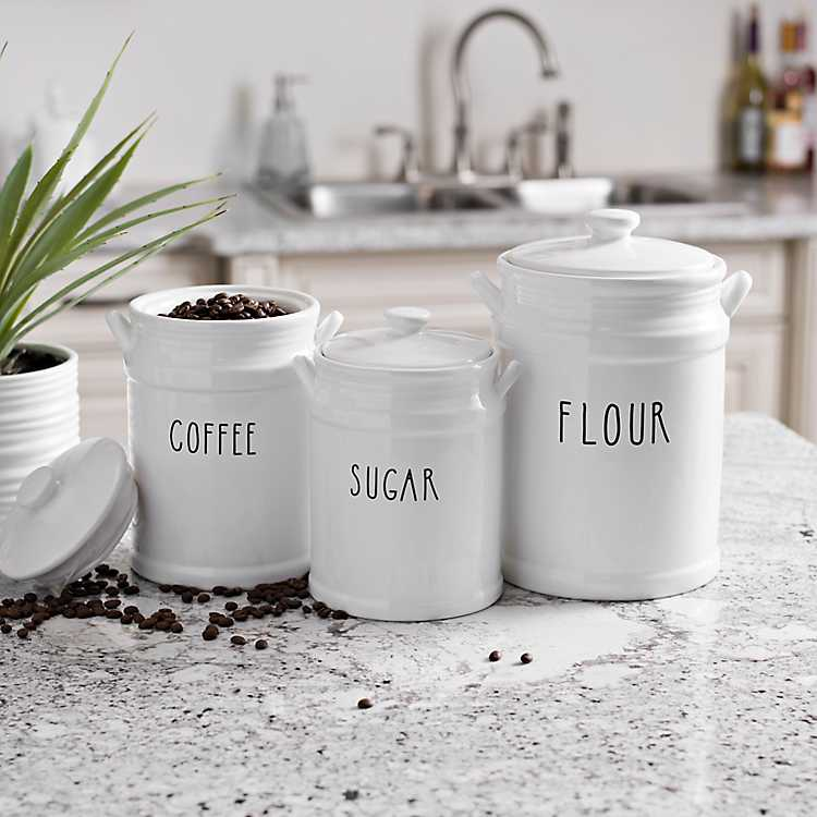 Flour Coffee And Sugar Canisters Set