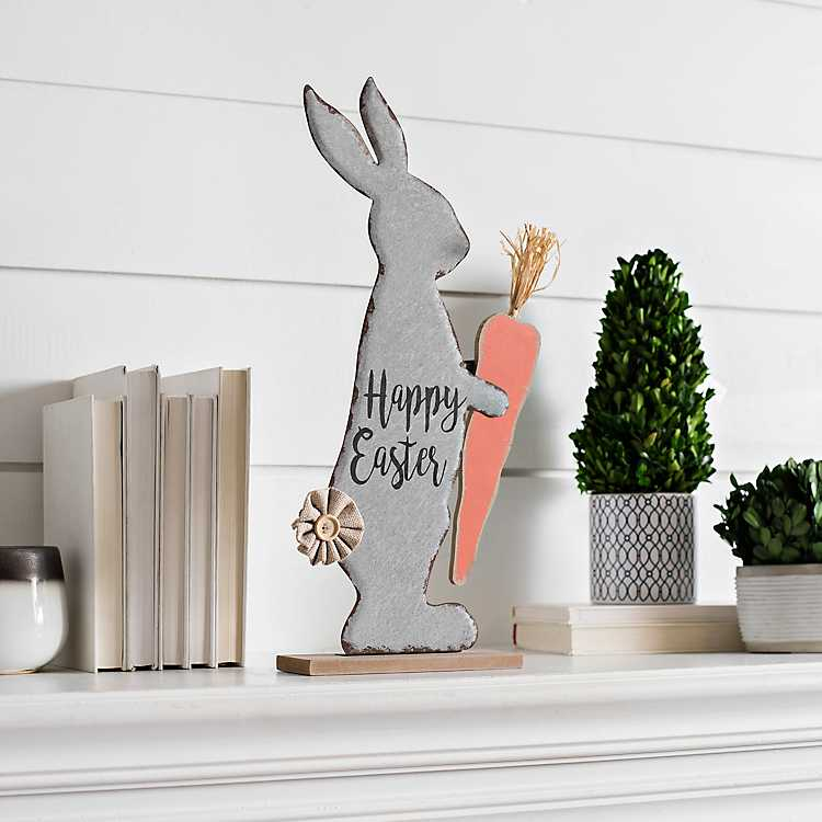 decortive ester ccents easter rabbit decor bunny.htm galvanized happy easter bunny on wooden stand kirklands  happy easter bunny on wooden stand