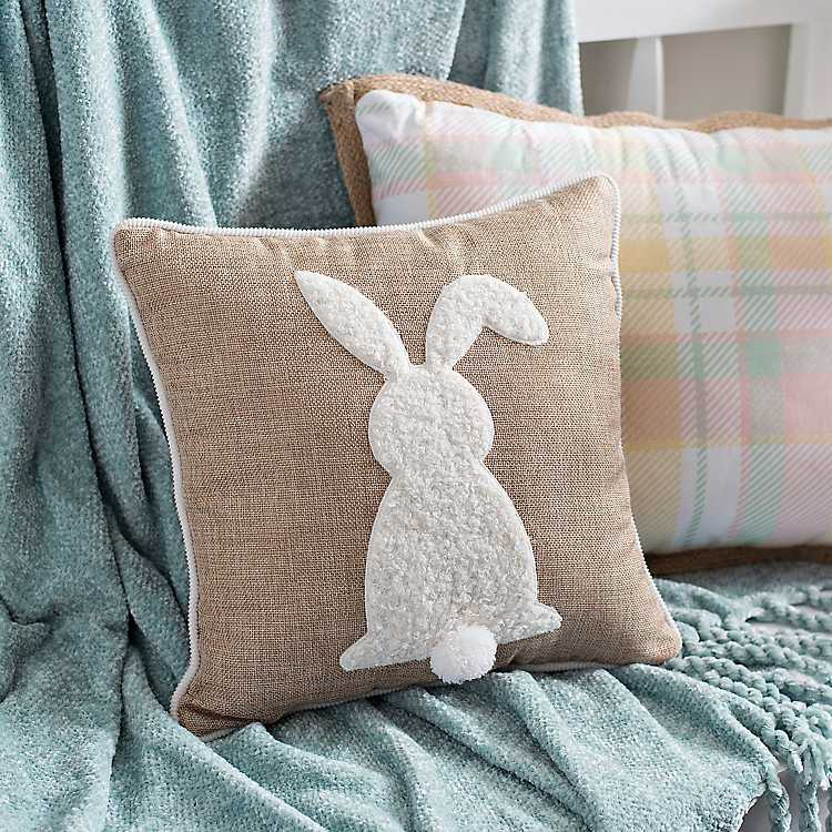 how to style your sofa using throw pillows simply grove.htm natural bunny with pom tail pillow kirklands  natural bunny with pom tail pillow