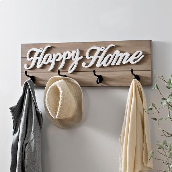 Happy Home Wood Plank Wall Hook