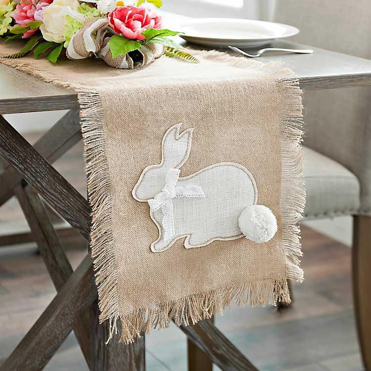 rustic cotton arrangement farmhouse decor rustic decor.htm jute bunny table runner kirklands  jute bunny table runner kirklands