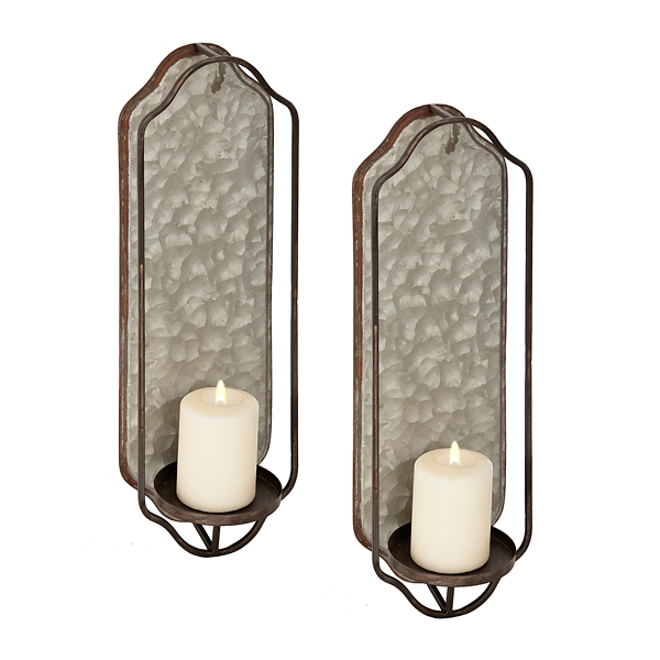 Galvanized Metal Sconces, Set Of 2