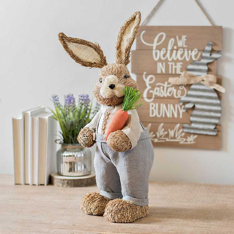 decortive ester ccents easter rabbit decor bunny.htm grass bunny with blue overalls kirklands  grass bunny with blue overalls kirklands