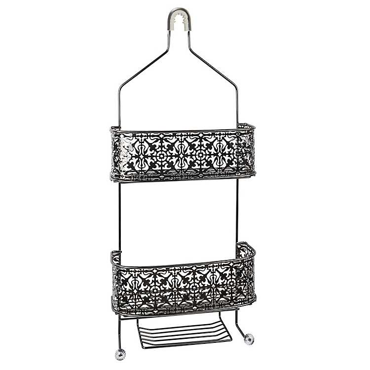 Black Chrome Lace Shower Caddy | Kirklands