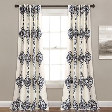 Cream Keya Medallion Curtain Panel Set 84 In