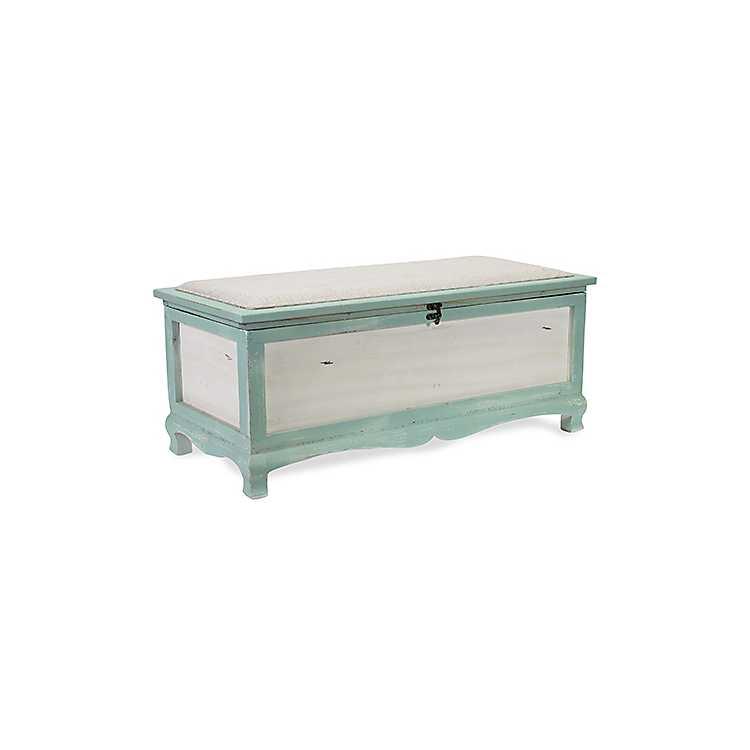 Blue Shabby Chic Storage Bench ...