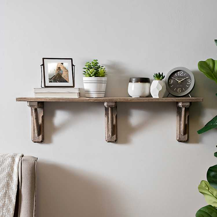Natural Weathered Wood Decorative Wall Shelf