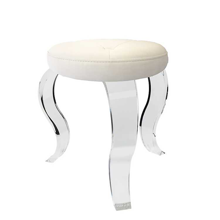 Fantastic White Vanity Stool With Acrylic Legs Pabps2019 Chair Design Images Pabps2019Com