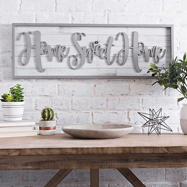 Home Sweet Home Wall Decor.Home Sweet Home Framed Shiplap Wall Plaque