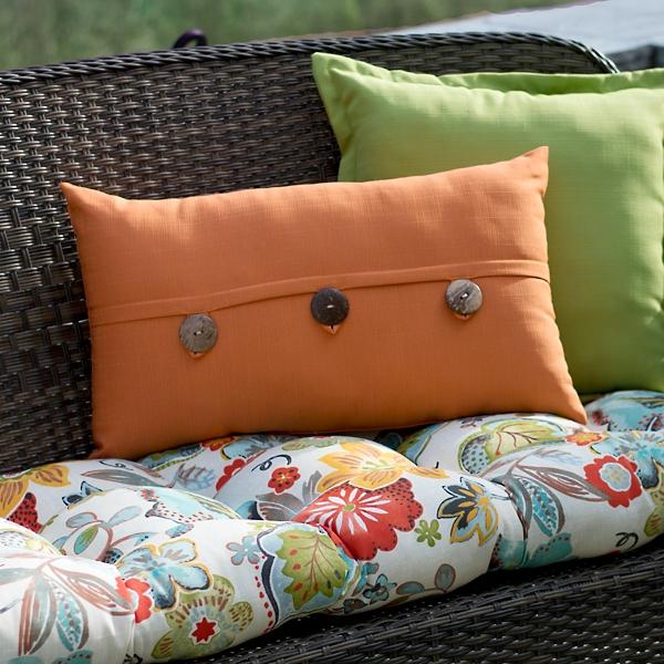 Sunset Orange Button Accent Pillow
