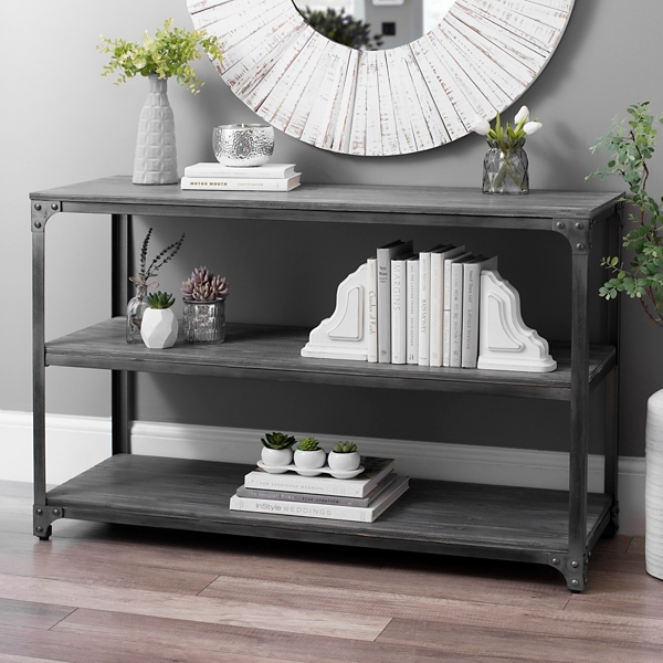 Everest Gray Distressed Industrial Console Table