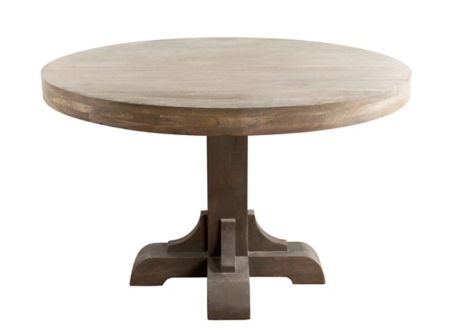 Gray Macy Round Pedestal Dining Table Kirklands - Round pedestal dining table gray
