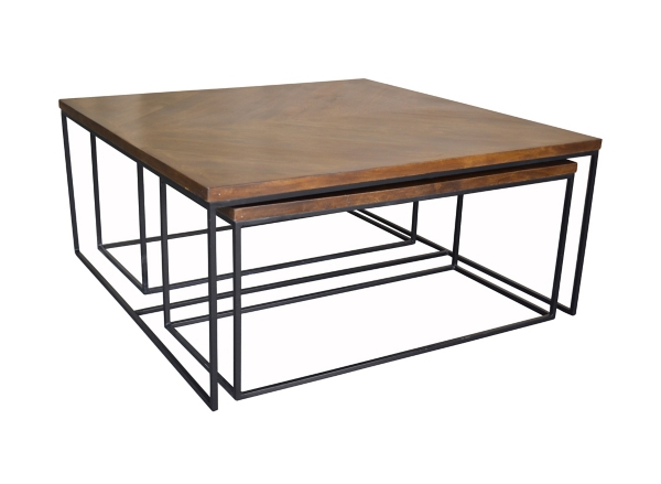 Brock Wood and Metal 3pc Coffee Table Set Kirklands
