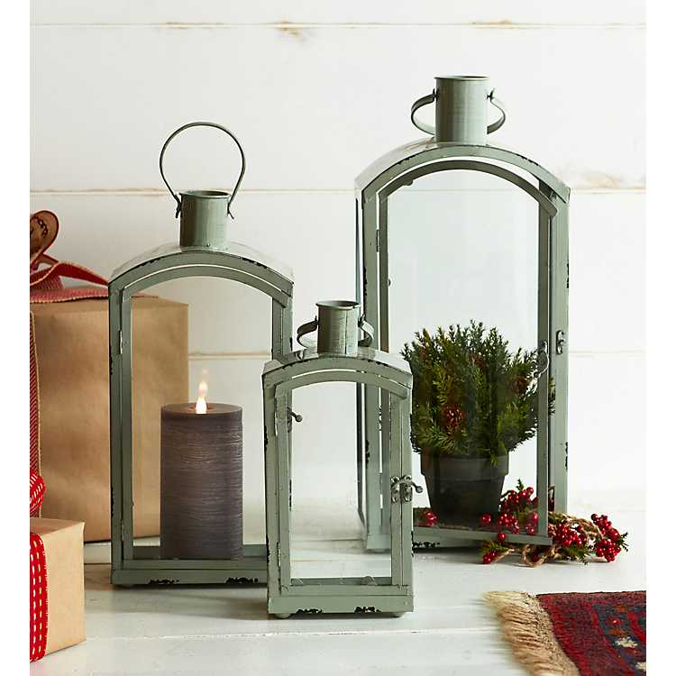 Rounded Gray Metal And Gl Lanterns