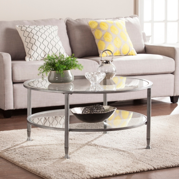 Mara Glass and Silver Metal Round Coffee Table Kirklands
