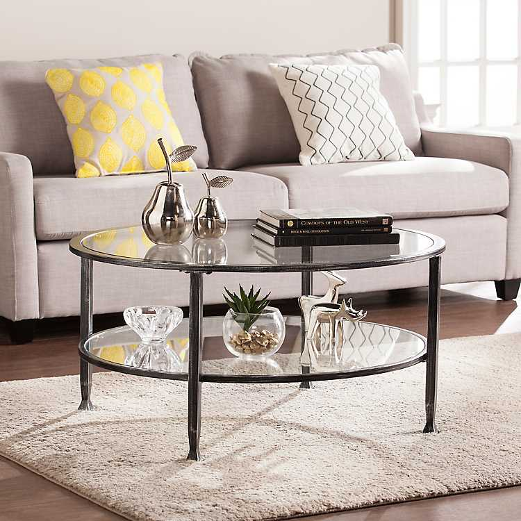 Mara Gl And Black Metal Round Coffee Table