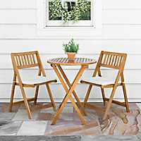 Acacia Wood 3 Piece Bistro Set with Cushions
