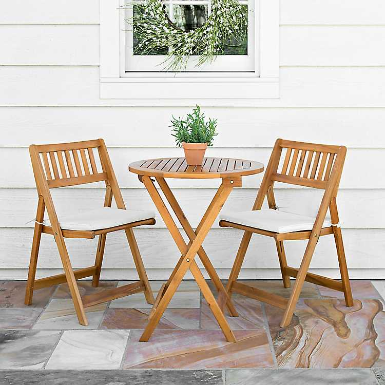 Acacia Wood 3 Pc Bistro Set With