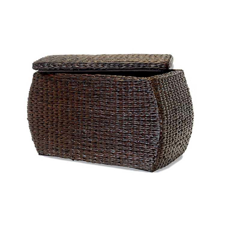 Excellent Brown Havana Weave Rectangular Storage Ottoman Short Links Chair Design For Home Short Linksinfo