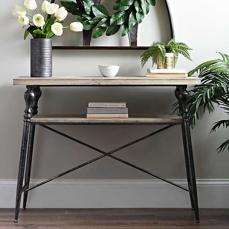 Industrial Fir Wood And Iron Console Table Kirklands
