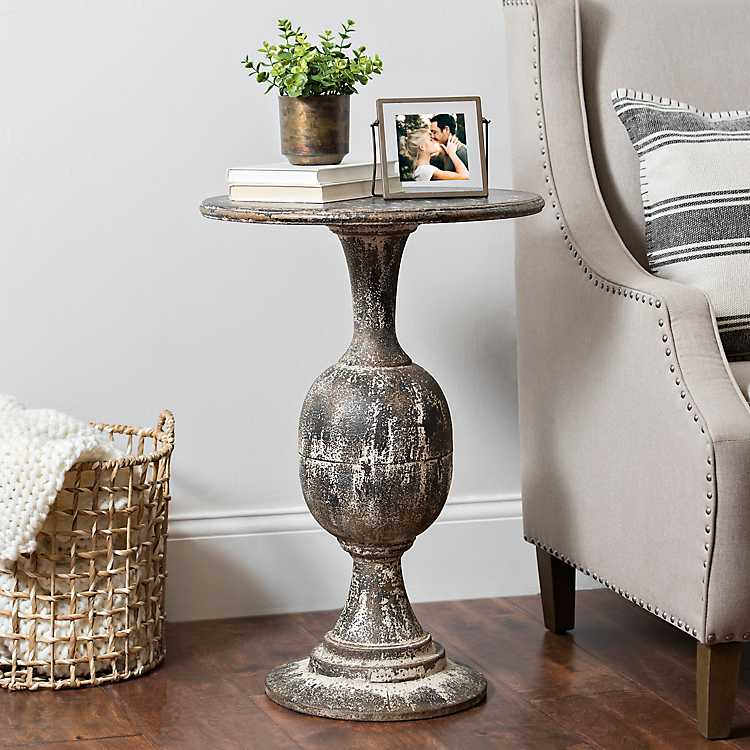 Product Details Distressed Round Black Pedestal Accent Table