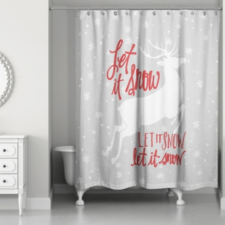 Let It Snow Reindeer Shower Curtain