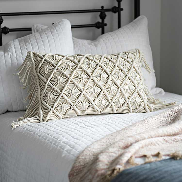 how to style your sofa using throw pillows simply grove.htm ivory macrame fringe accent pillow kirklands  ivory macrame fringe accent pillow