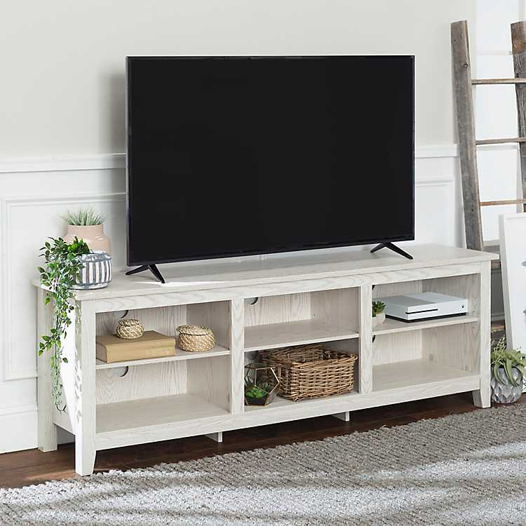 Whitewashed Wood Media Console 70 In Kirklands