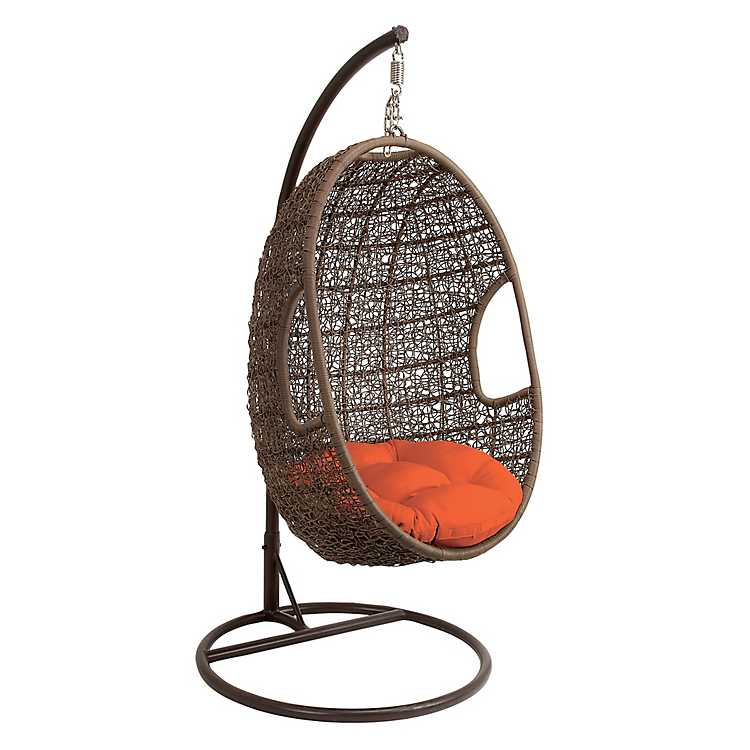 Gentil Rattan Egg Chair Swing With Red Cushion ...