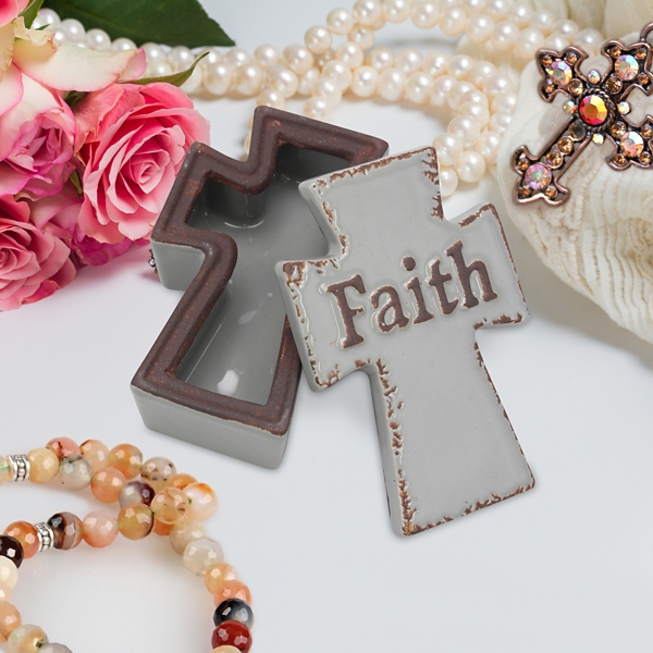 Cross Shaped Faith Worn Ceramic Decorative Box
