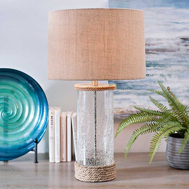 Crackled Glass And Rope Table Lamp Kirklands