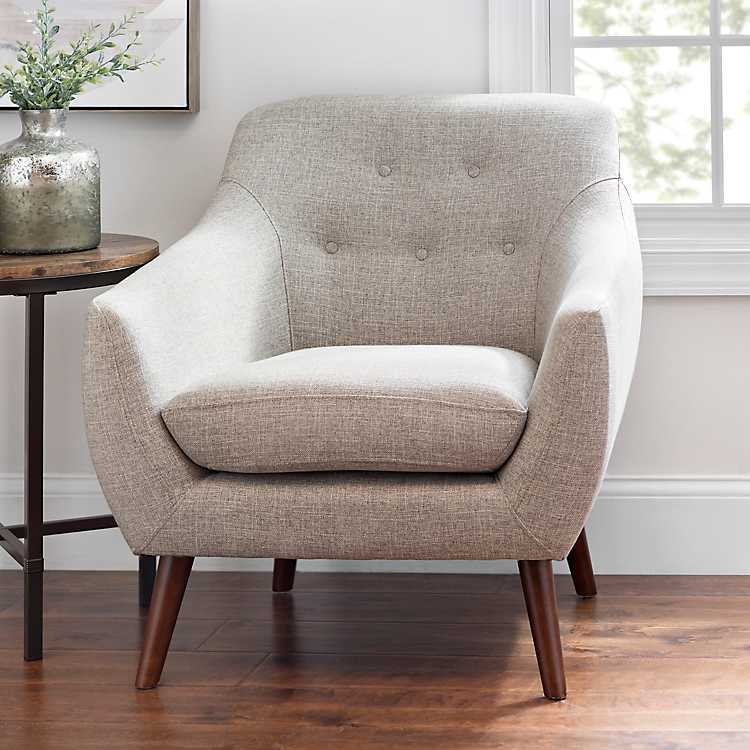 Excellent Gray Tufted Mid Century Modern Accent Chair Pabps2019 Chair Design Images Pabps2019Com