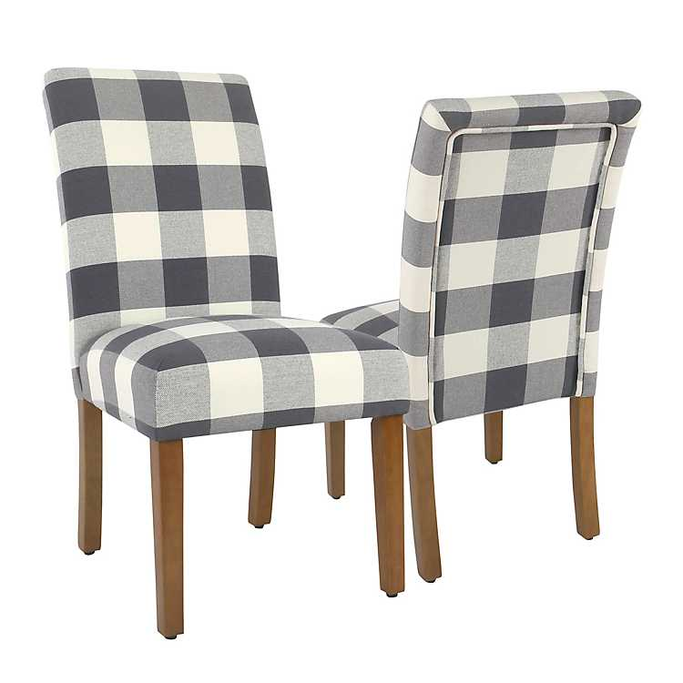 Terrific Blue Buffalo Check Dining Chairs Set Of 2 Gmtry Best Dining Table And Chair Ideas Images Gmtryco