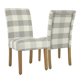 Gray Buffalo Check Dining Chairs Set Of 2