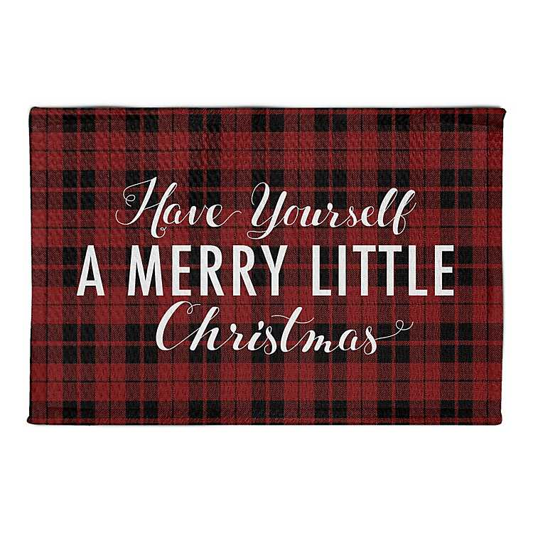 Red and Black Plaid Merry Christmas Kitchen Mat
