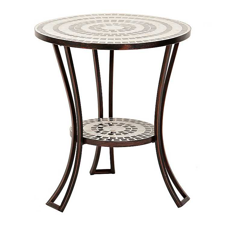 Black And White Mosaic Outdoor Side Table ...