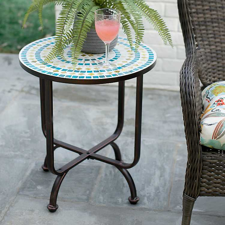 Product Details Blue And Green Mosaic Outdoor Side Table