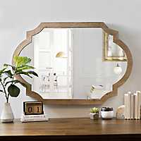 Natural Wood Scalloped Mirror