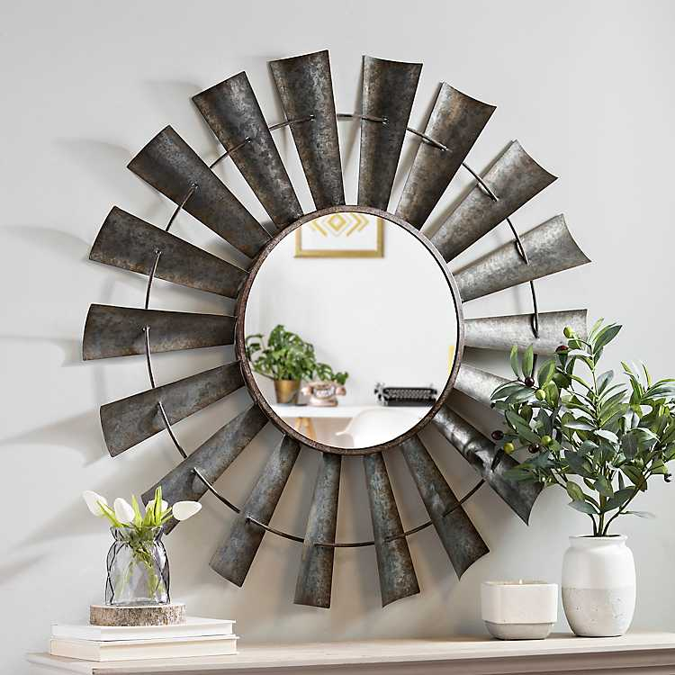 decorative kitchen decor.htm galvanized windmill decorative mirror kirklands  galvanized windmill decorative mirror