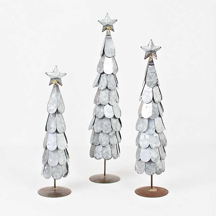 Galvanized Metal Christmas Trees Set