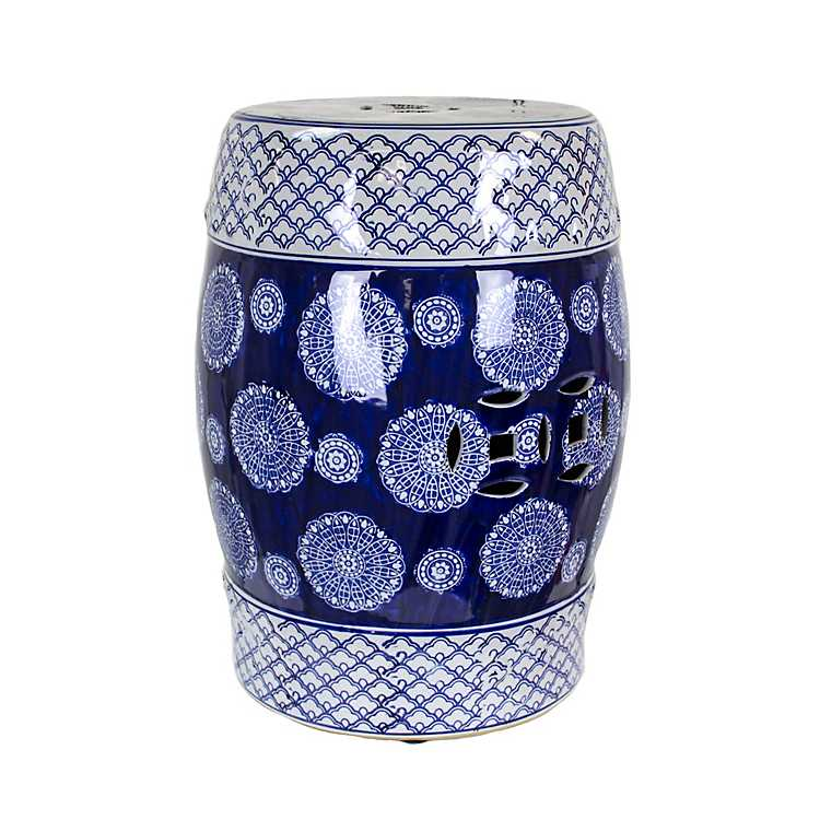 Terrific Blue And White Ceramic Garden Stool Caraccident5 Cool Chair Designs And Ideas Caraccident5Info