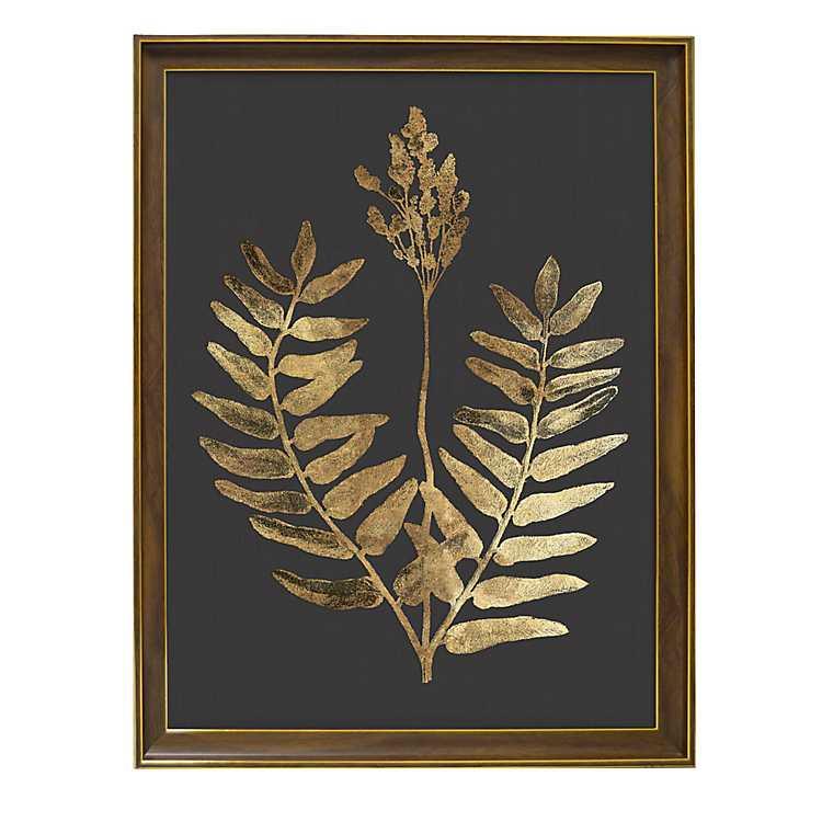 Golden Botanical III Framed Glass Art Print