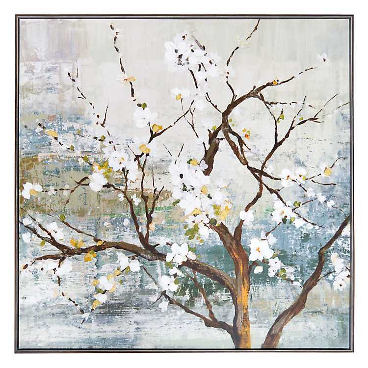 White Blossom Tree Framed Canvas Art Print | Kirklands