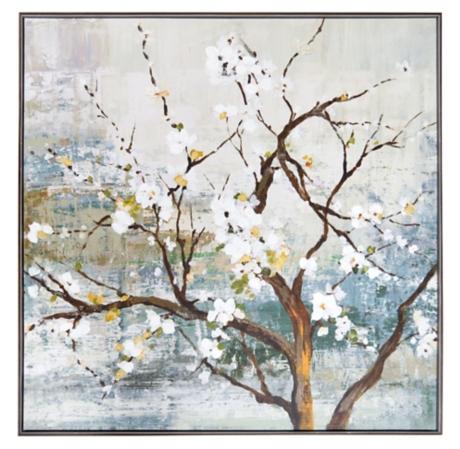White Blossom Tree Framed Canvas Art Print | Kirklands