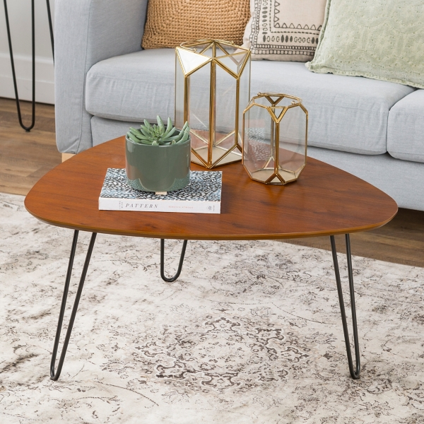 Walnut Wood Hairpin Leg Coffee Table Kirklands