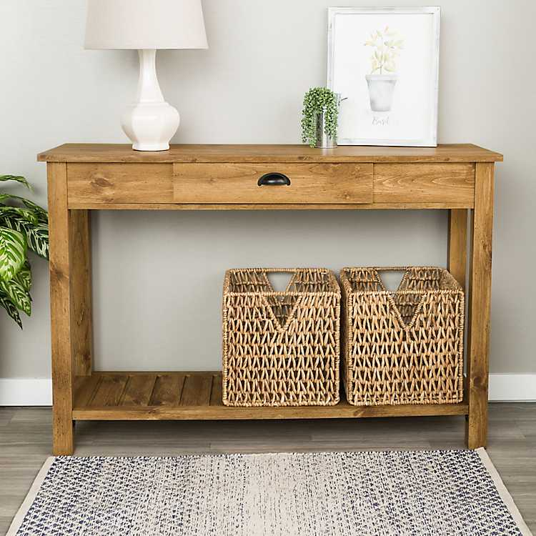 Genial Country Style Barnwood Console Table ...