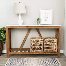 Rustic A Frame Marble And Walnut Console Table