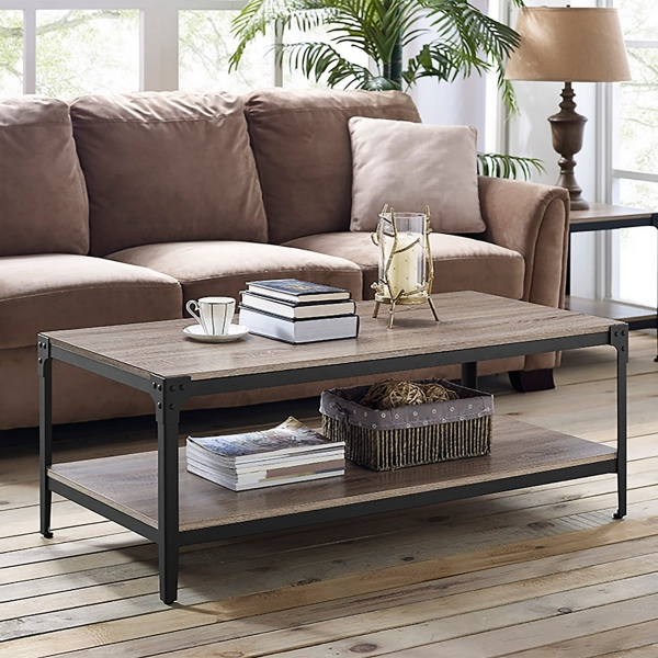 Driftwood Angle Iron Coffee Table Kirklands