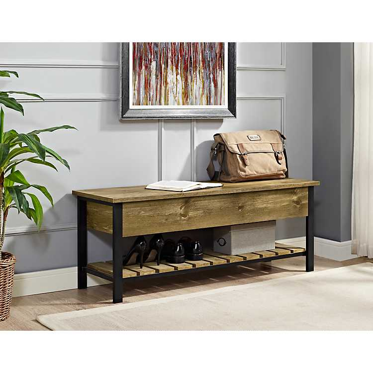 Enjoyable Barnwood Lift Top Storage Bench Gmtry Best Dining Table And Chair Ideas Images Gmtryco